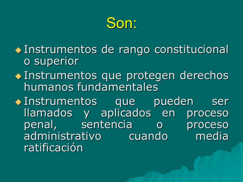 Son: Instrumentos de rango constitucional o superior