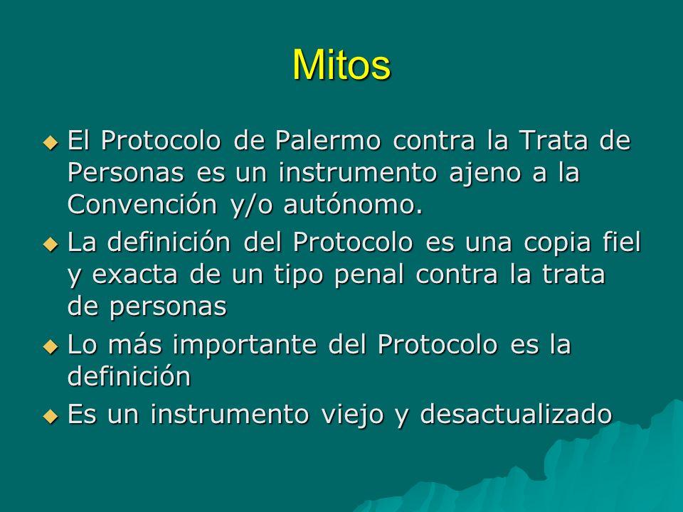 MitosEl Protocolo de Palermo contra la Trata de Personas es un instrumento ajeno a la Convención y/o autónomo.
