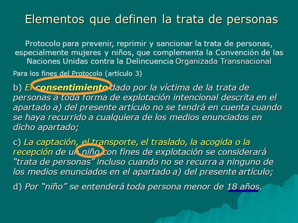 Elementos que definen la trata de personas