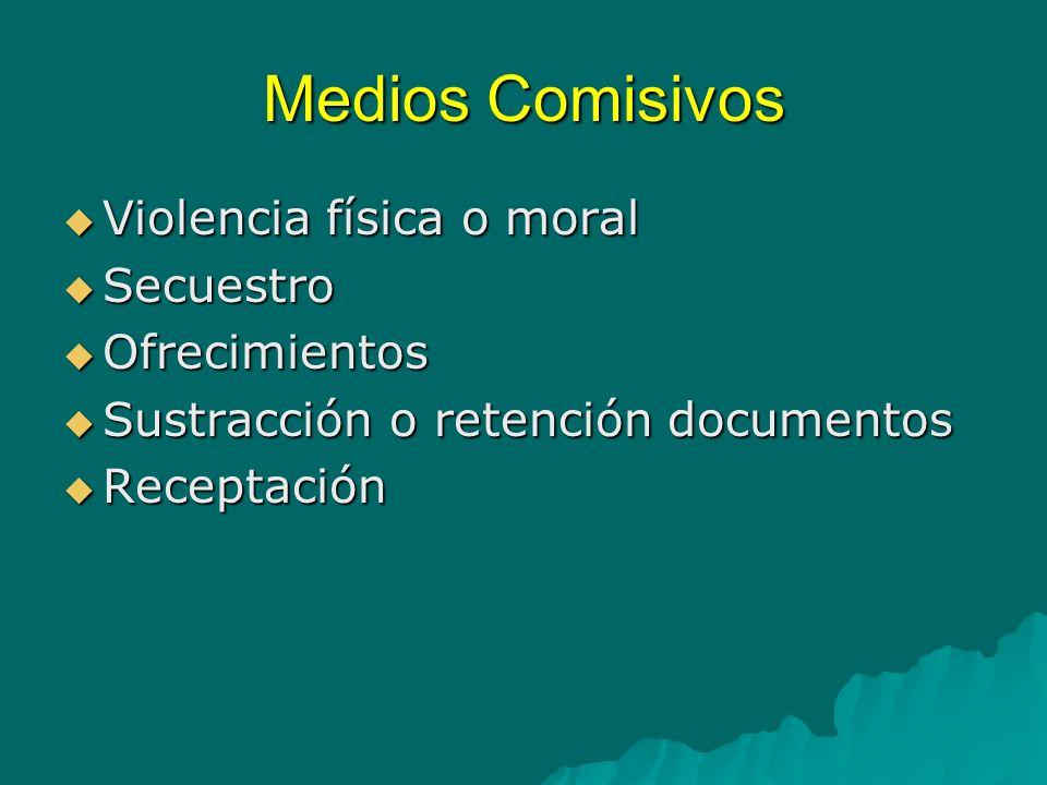 Medios Comisivos Violencia física o moral Secuestro Ofrecimientos