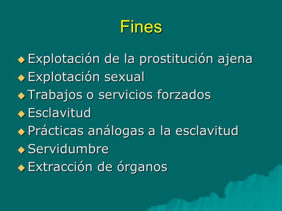 Fines Explotación de la prostitución ajena Explotación sexual