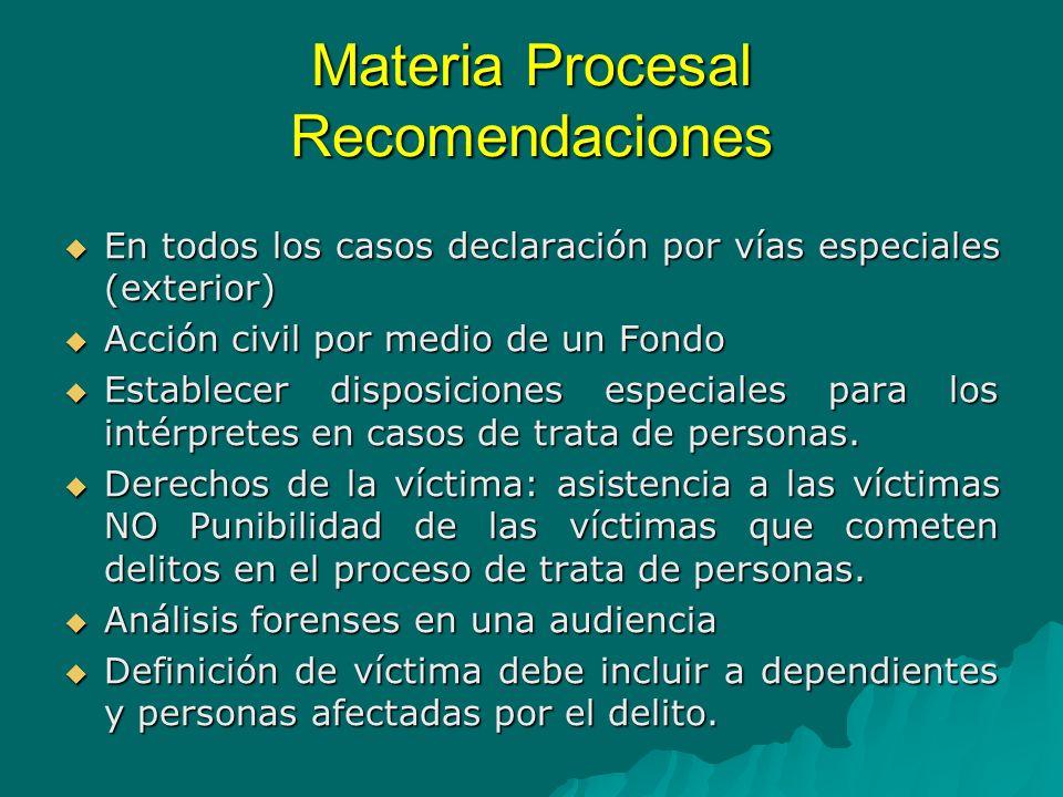 Materia Procesal Recomendaciones