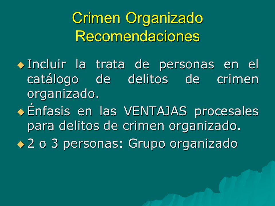 Crimen Organizado Recomendaciones