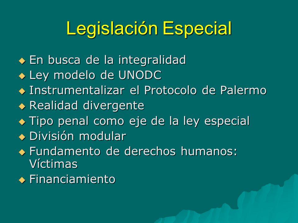 Legislación Especial En busca de la integralidad Ley modelo de UNODC