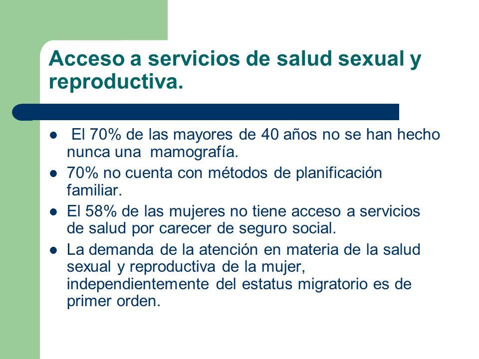 Acceso a servicios de salud sexual y reproductiva.