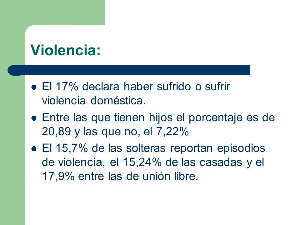 Violencia: El 17% declara haber sufrido o sufrir violencia doméstica.