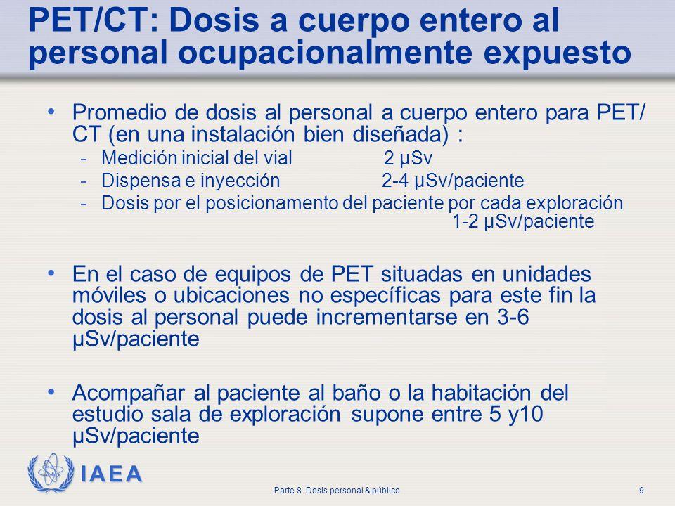 PET/CT: Dosis a cuerpo entero al personal ocupacionalmente expuesto