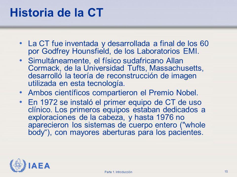 Historia de la CTLa CT fue inventada y desarrollada a final de los 60 por Godfrey Hounsfield, de los Laboratorios EMI.