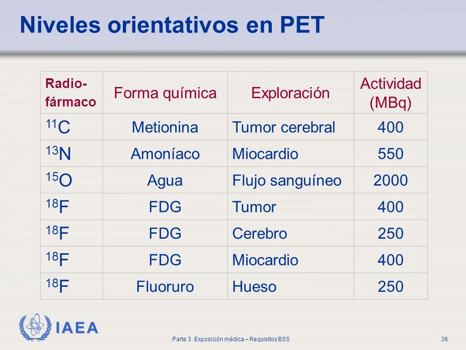 Niveles orientativos en PET
