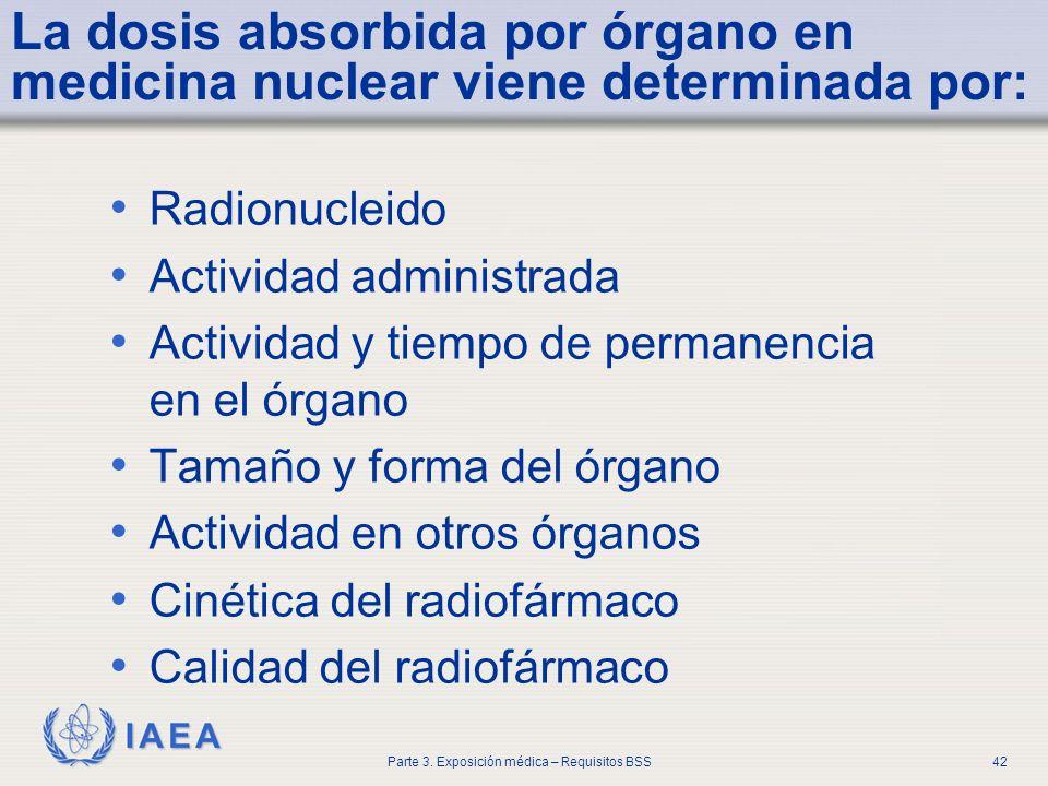 La dosis absorbida por órgano en medicina nuclear viene determinada por: