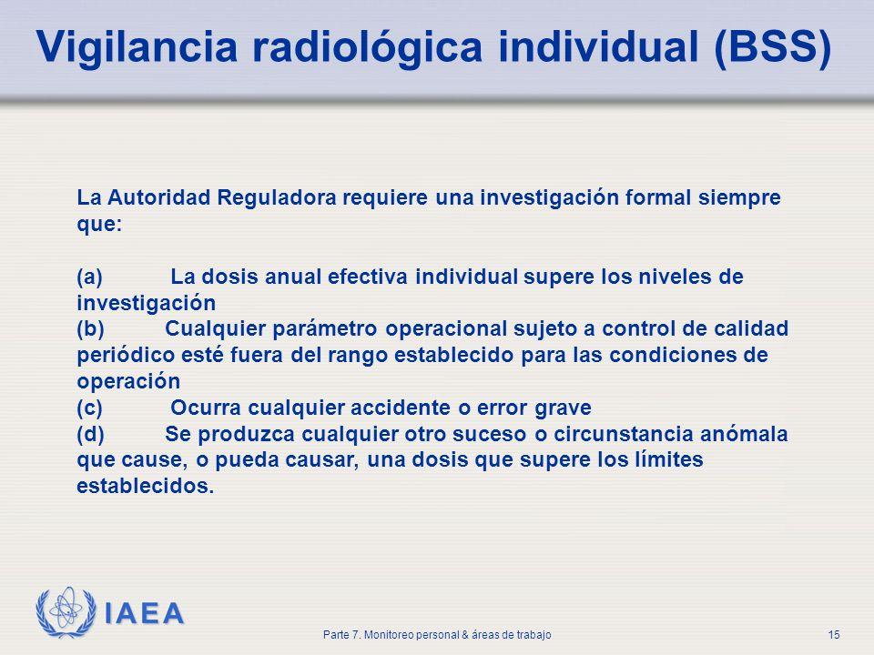 Vigilancia radiológica individual (BSS)