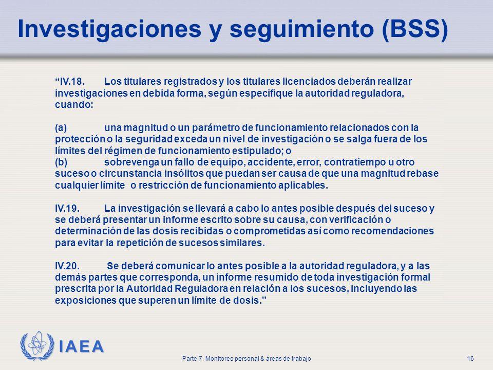 Investigaciones y seguimiento (BSS)