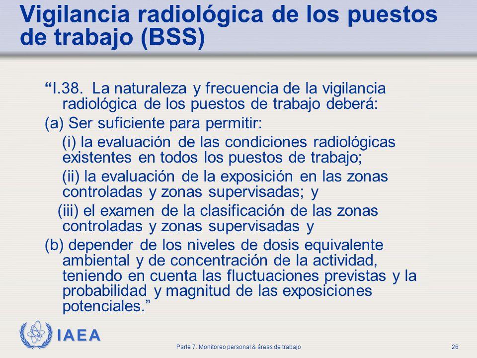 Vigilancia radiológica de los puestos de trabajo (BSS)