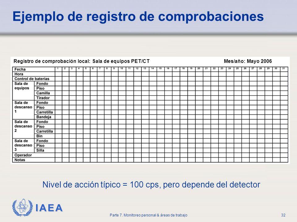 Ejemplo de registro de comprobaciones