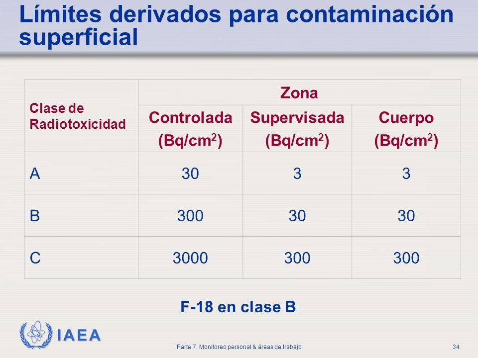 Límites derivados para contaminación superficial