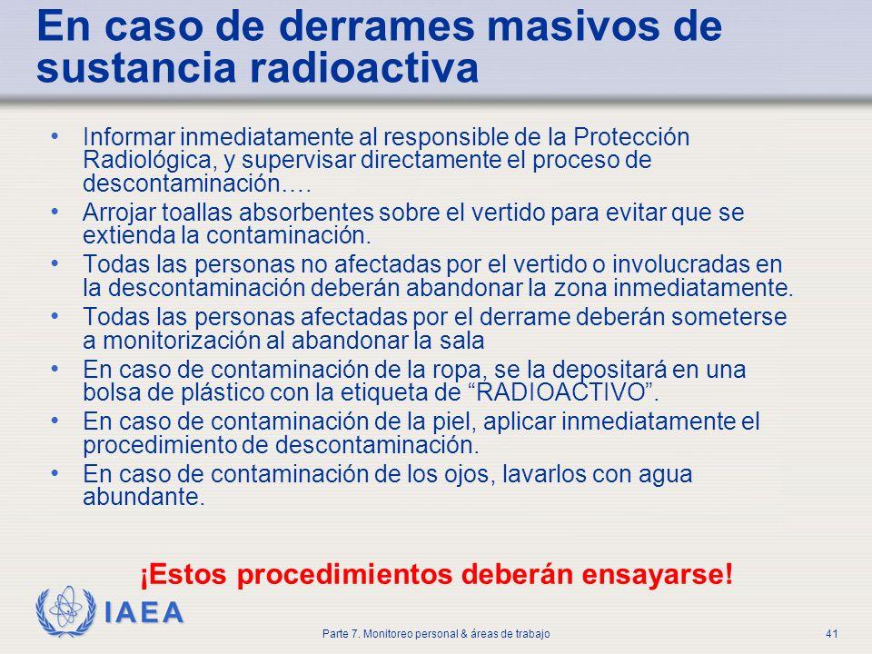 En caso de derrames masivos de sustancia radioactiva