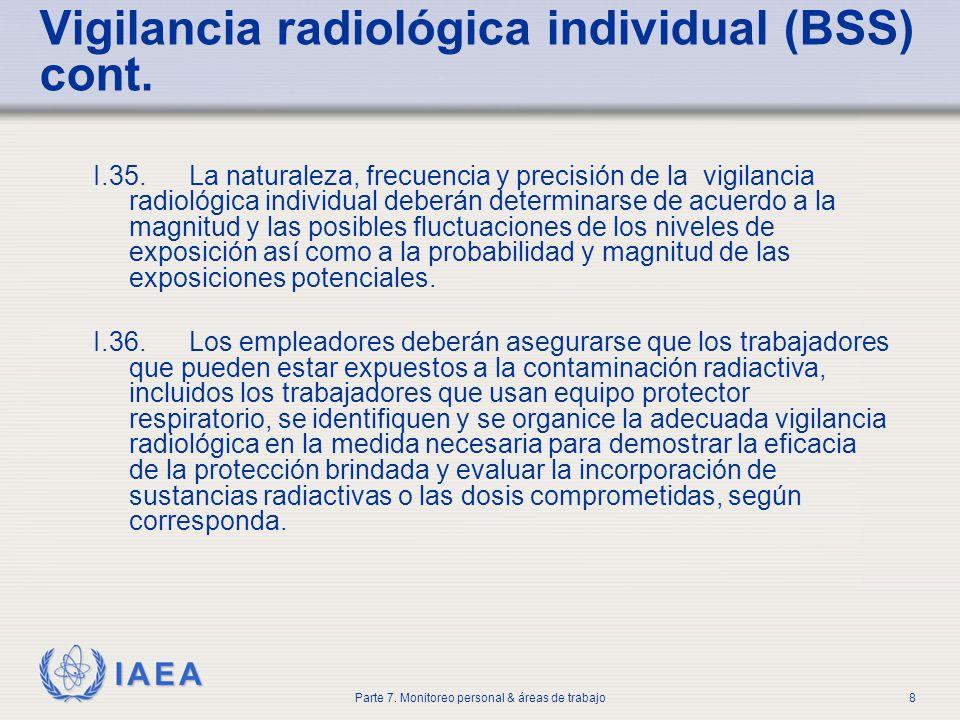 Vigilancia radiológica individual (BSS) cont.