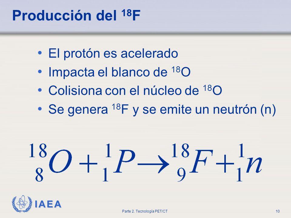 Producción del 18F El protón es acelerado Impacta el blanco de 18O