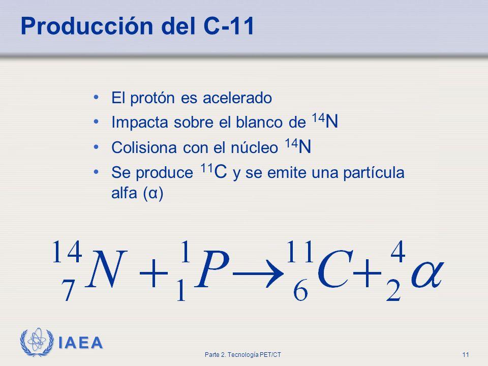 Producción del C-11 El protón es acelerado
