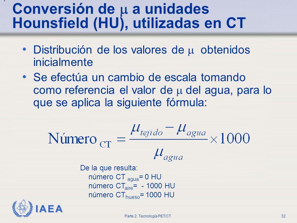 Conversión de  a unidades Hounsfield (HU), utilizadas en CT