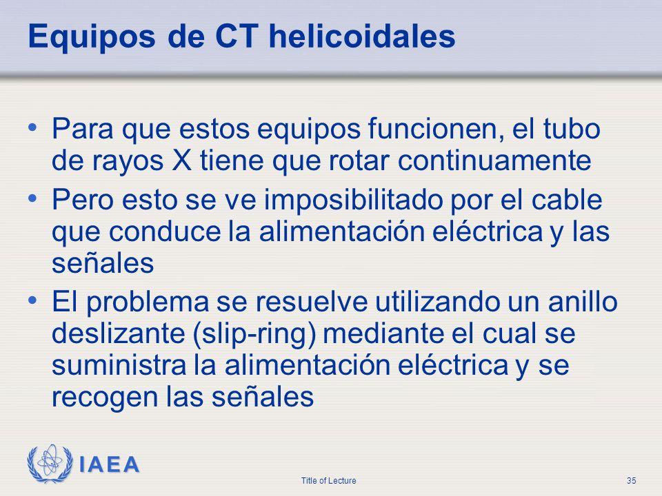 Equipos de CT helicoidales