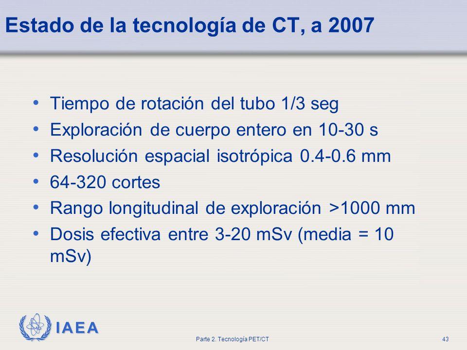 Estado de la tecnología de CT, a 2007