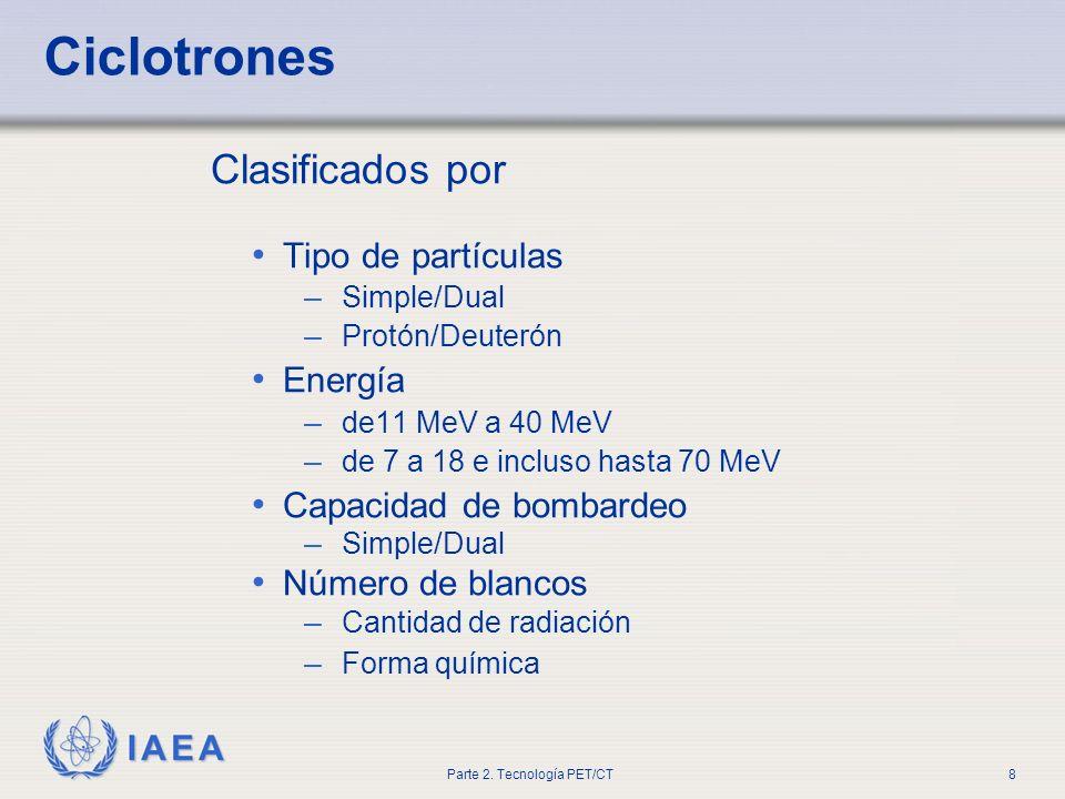 Ciclotrones Clasificados por Tipo de partículas Energía