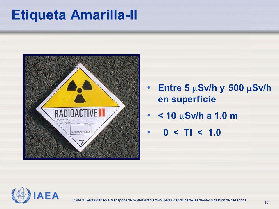 Etiqueta Amarilla-II Entre 5 Sv/h y 500 Sv/h en superficie