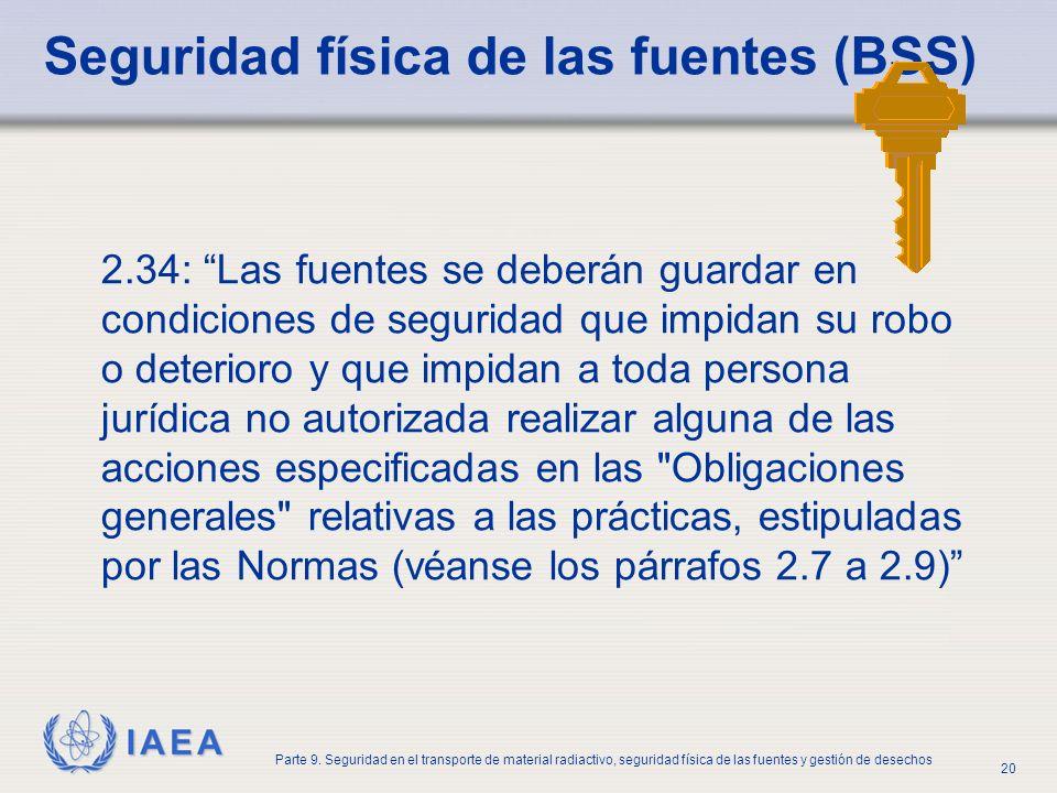 Seguridad física de las fuentes (BSS)