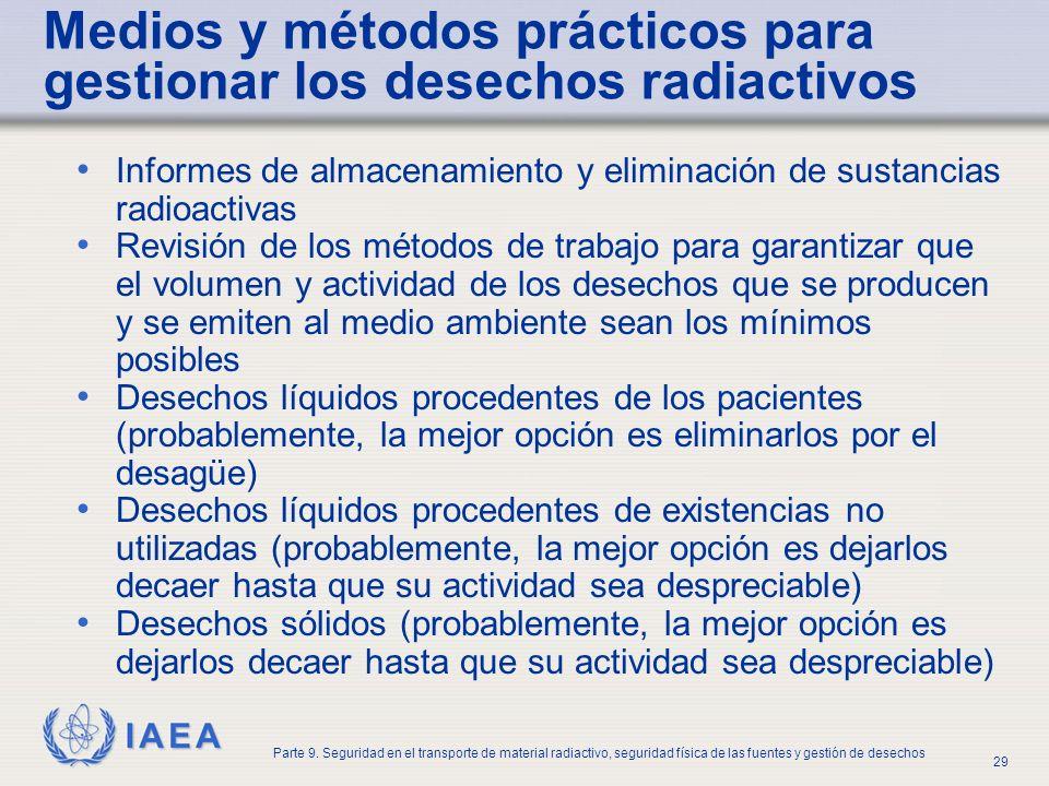 Medios y métodos prácticos para gestionar los desechos radiactivos