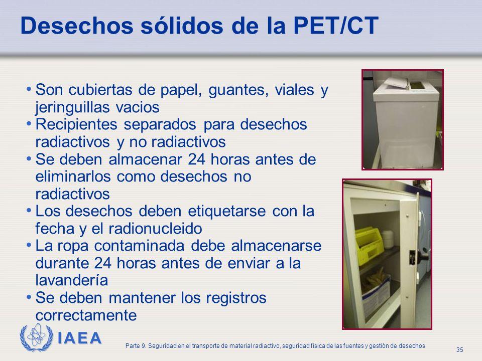 Desechos sólidos de la PET/CT