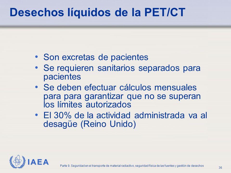 Desechos líquidos de la PET/CT