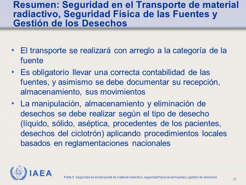 Resumen: Seguridad en el Transporte de material radiactivo, Seguridad Física de las Fuentes y Gestión de los Desechos