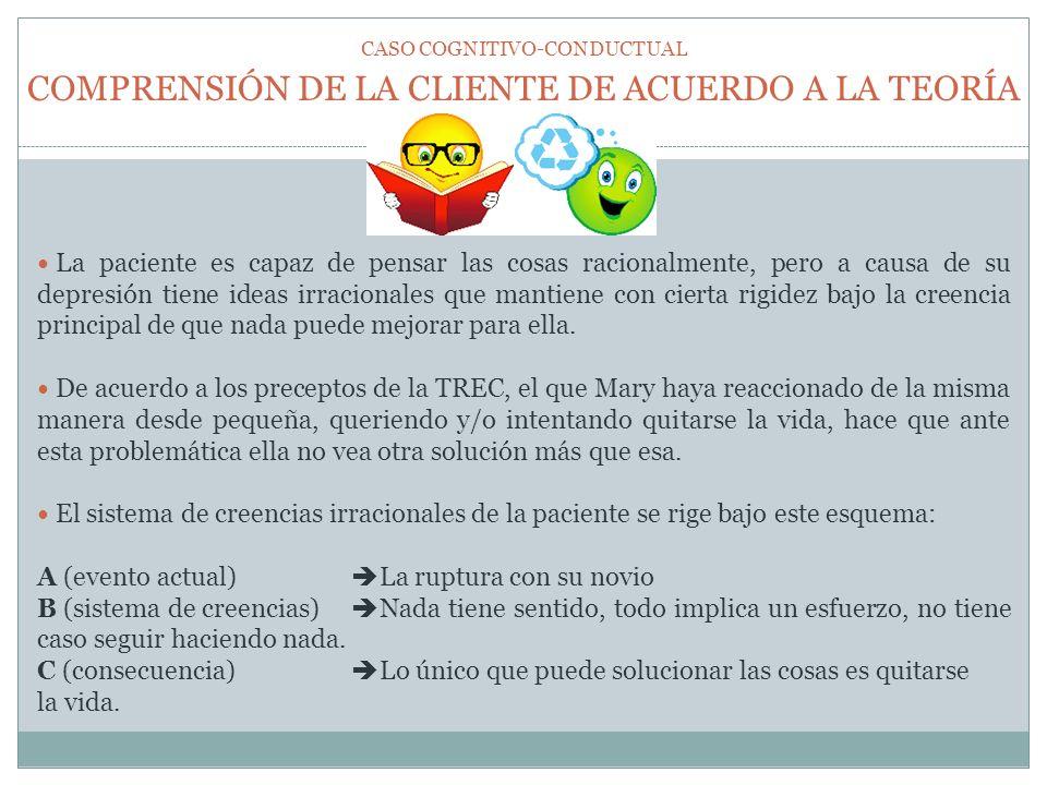 COMPRENSIÓN DE LA CLIENTE DE ACUERDO A LA TEORÍA