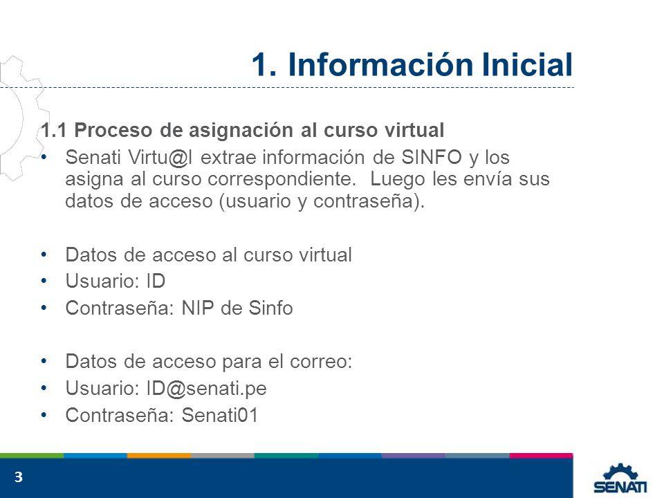 Información Inicial 1.1 Proceso de asignación al curso virtual