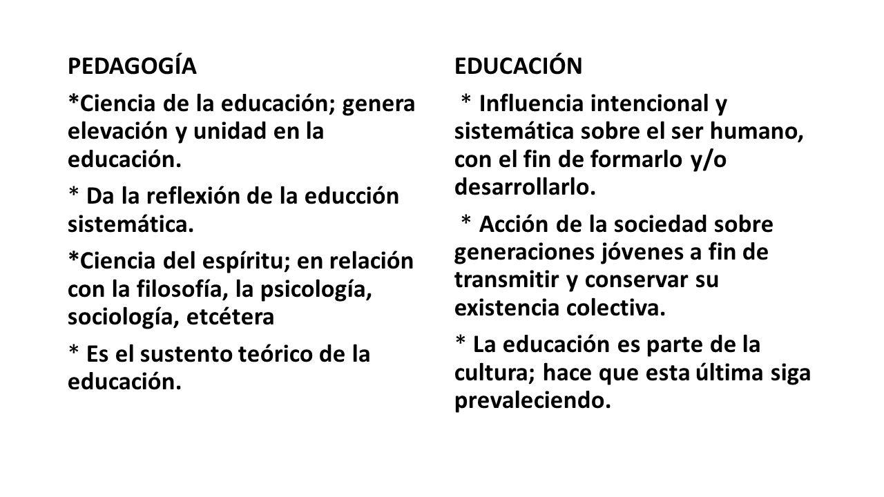 PEDAGOGÍA *Ciencia de la educación; genera elevación y unidad en la educación. * Da la reflexión de la educción sistemática.