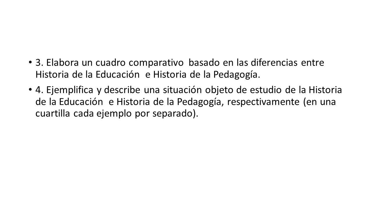 3. Elabora un cuadro comparativo basado en las diferencias entre Historia de la Educación e Historia de la Pedagogía.