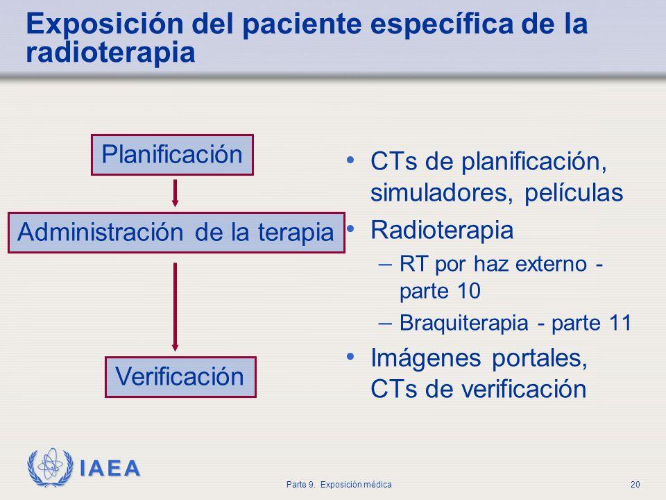 Exposición del paciente específica de la radioterapia