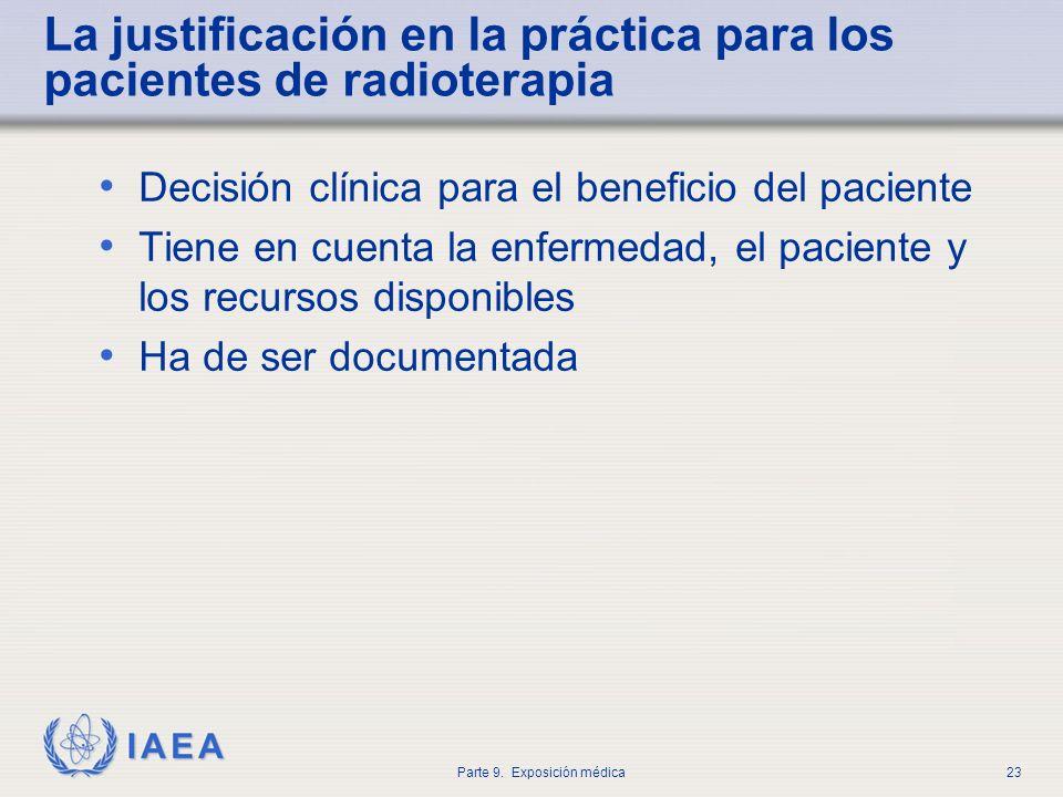 La justificación en la práctica para los pacientes de radioterapia