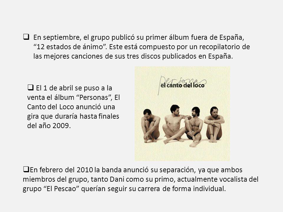 En septiembre, el grupo publicó su primer álbum fuera de España, 12 estados de ánimo . Este está compuesto por un recopilatorio de las mejores canciones de sus tres discos publicados en España.