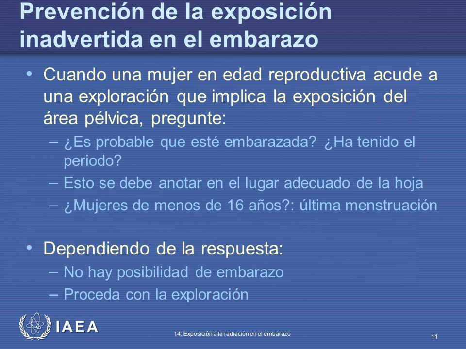 Prevención de la exposición inadvertida en el embarazo