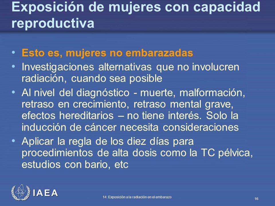 Exposición de mujeres con capacidad reproductiva