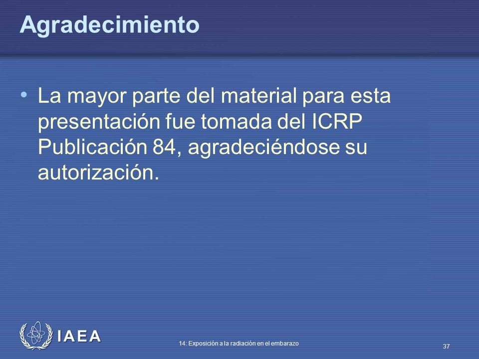 Agradecimiento La mayor parte del material para esta presentación fue tomada del ICRP Publicación 84, agradeciéndose su autorización.