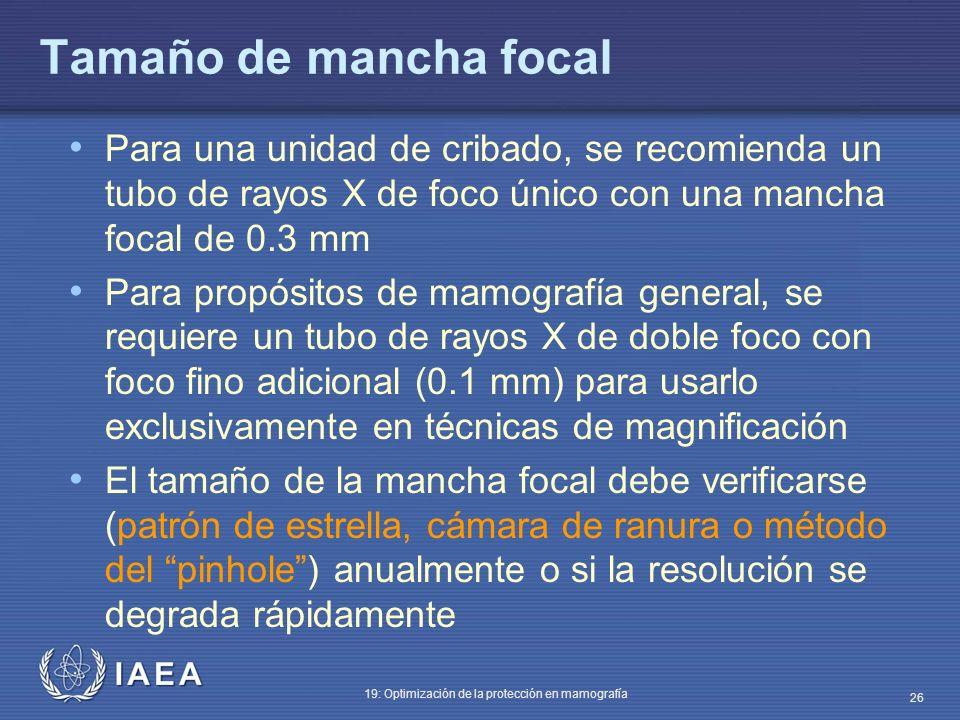 Tamaño de mancha focal Para una unidad de cribado, se recomienda un tubo de rayos X de foco único con una mancha focal de 0.3 mm.