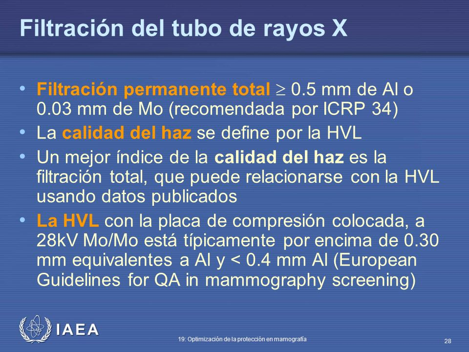 Filtración del tubo de rayos X