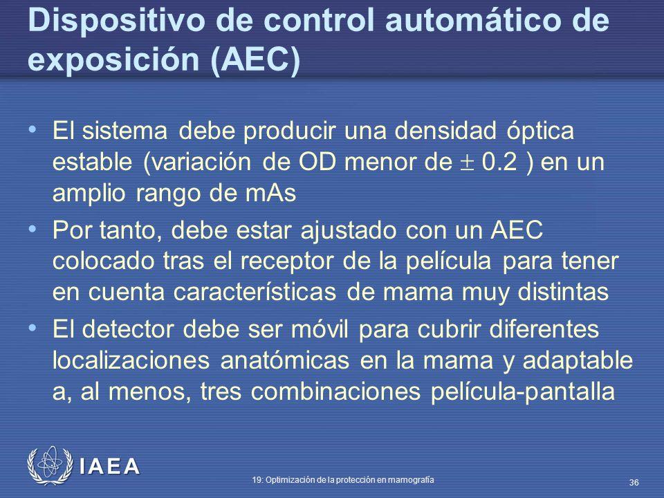 Dispositivo de control automático de exposición (AEC)