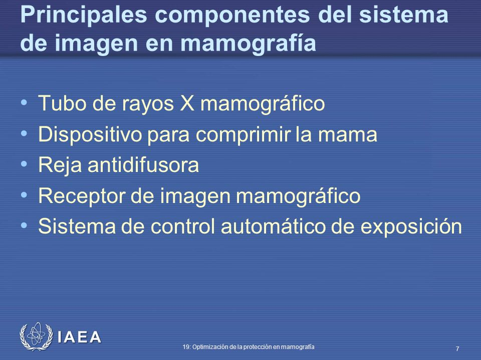 Principales componentes del sistema de imagen en mamografía