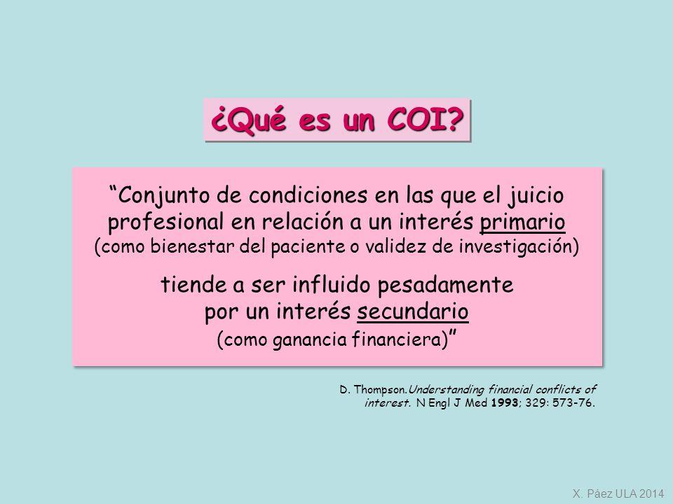 ¿Qué es un COI Conjunto de condiciones en las que el juicio profesional en relación a un interés primario.