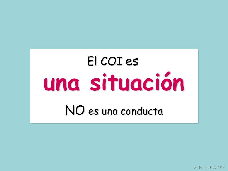 El COI es una situación NO es una conducta X. Páez ULA 2014