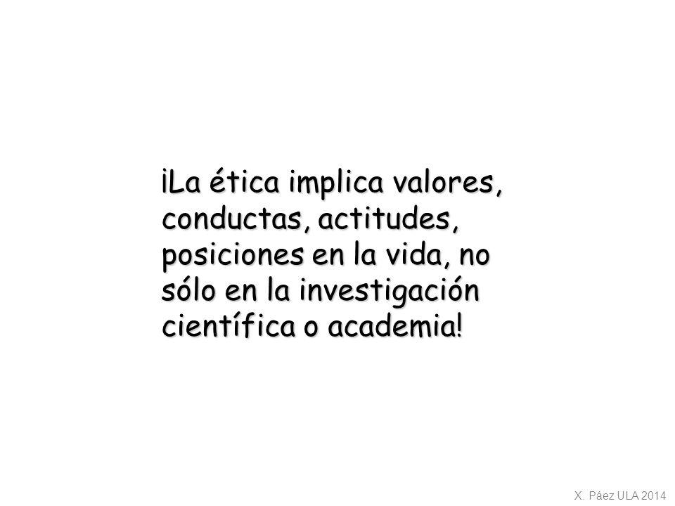 ¡La ética implica valores, conductas, actitudes, posiciones en la vida, no sólo en la investigación científica o academia!